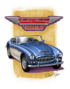 British Car Posters - Austin Healey 3000 Blue-white Poster by David Kyte