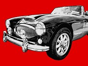 British Car Posters - Austin Healey 3000 On Red  Poster by Lance Vaughn