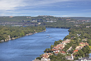 Pennybacker Bridge Prints - Austin Images - Pennybacker Bridge from Mount Bonnell Print by Rob Greebon