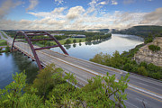 360 Bridge Prints - Austin Images - Pennybacker Bridge looking West an hour after su Print by Rob Greebon