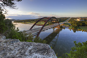 Pennybacker Bridge Prints - Austin Images - Pennybacker Bridge October Sunrise 2 Print by Rob Greebon