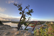 360 Bridge Posters - Austin Images - Pennybacker Bridge October Sunrise Poster by Rob Greebon