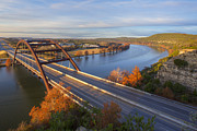 Pennybacker Bridge Posters - Austin Images - Pennybacker Bridge Sunrise on a December Morning Poster by Rob Greebon