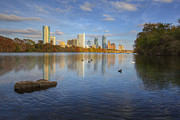 Photos Of Autumn Framed Prints - Austin Images - The Austin Skyline on a Autumn Day Framed Print by Rob Greebon