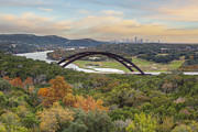 360 Bridge Prints - Austin Images - Pennybacker Bridge and the Austin Skyline showin Print by Rob Greebon