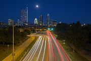 Austin At Night Framed Prints - Austin Images - The Austin Skyline Looking over Cesar Chavez Framed Print by Rob Greebon