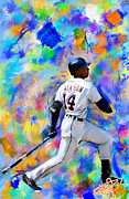 Baseball Paintings - Austin Jackson 2013 by Donald Pavlica