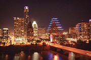 Austin Downtown Prints - Austin Lights the Night Print by Terry Rowe