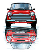 Mini Cooper Prints - Austin Mini Cooper with new BMW Mini Cooper Reflected Print by David Kyte
