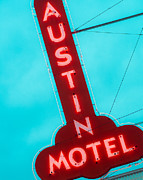 Downtown Austin Framed Prints - Austin Motel Sign Framed Print by Sonja Quintero