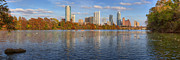 Photos Of Autumn Framed Prints - Austin Panorama - The Austin Skyline in Autumn Framed Print by Rob Greebon