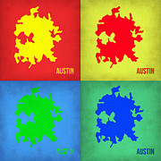 World Map Digital Art Metal Prints - Austin Pop Art Map 1 Metal Print by Irina  March