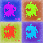 Map Art Digital Art Prints - Austin Pop Art Map 2 Print by Irina  March