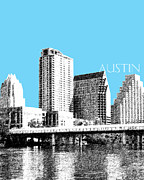 Pen Digital Art - Austin Skyline by Dean Caminiti