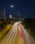 Austin At Night Framed Prints - Austin Skyline from Lamar looking down Caesar Chavez 2 Framed Print by Rob Greebon