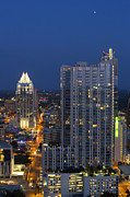 Austin At Night Prints - Austin Skyline Images - Frost Tower and the 360 Condos Print by Rob Greebon