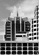 Austin Skyline Art - Austin Speaks in black and white by Wendy J St Christopher
