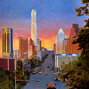 Capitol Mixed Media - Austin Sunset by Dan Terry