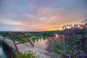 Pennybacker Bridge Posters - Austin Sunset over Pennybacker Bridge HDR Poster by Preston Broadfoot