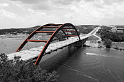 Pennybacker Bridge Prints - Austin Texas Pennybacker 360 Bridge Color Splash Black and White Print by Shawn OBrien