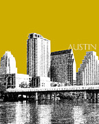 Ink Digital Art Posters - Austin Texas Skyline Poster by DB Artist