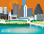 Framed Art Digital Art - Austin Texas Skyline by Karen Young
