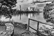 Shady Street Framed Prints - Austin Texas Skyline Lou Neff Point in Black and White Framed Print by Silvio Ligutti