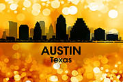 Cityscape Mixed Media Posters - Austin TX 3 Poster by Angelina Vick