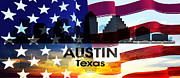 Austin Mixed Media Posters - Austin TX Patriotic Large Cityscape Poster by Angelina Vick