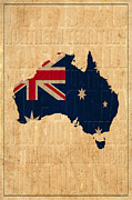 Map Of Australia Framed Prints - Australia Framed Print by Andrew Fare