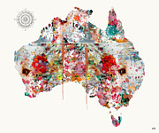 Watercolor Map Mixed Media - Australia by Brian Buckley
