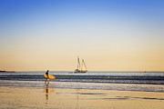 Sailing Ship Posters - Australia Broome Cable Beach Surfer and Sailing Ship Poster by Colin and Linda McKie