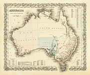 Map Of Australia Framed Prints - AUSTRALIA c. 1850 Framed Print by Daniel Hagerman