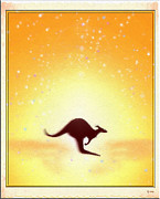 Kangaroo Digital Art Metal Prints - Australia Metal Print by Daniel Janda