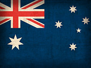 Australia Mixed Media Prints - Australia Flag Vintage Distressed Finish Print by Design Turnpike