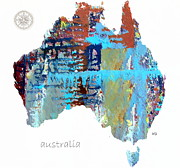Maps Paintings - Australia Map by Brian Buckley