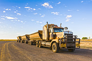 Dust Posters - Australia Queensland Outback Road Train Poster by Colin and Linda McKie
