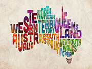 Watercolor Map Prints - Australia Typographic Text Map Print by Michael Tompsett