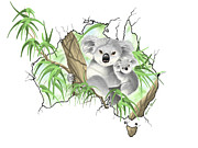 Koala Digital Art Prints - Australia Print by Veronica Minozzi