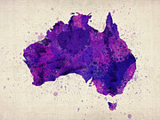 Australia Digital Art Posters - Australia Watercolor Map Art Poster by Michael Tompsett