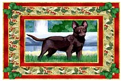 Kelpie Painting Metal Prints - Australian Kelpie Dog Christmas Metal Print by Olde Time  Mercantile