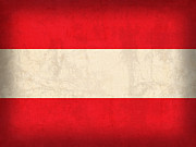 Europe Mixed Media Posters - Austria Flag Vintage Distressed Finish Poster by Design Turnpike