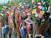 Swiss Horn Paintings - Austrian Cattle Drive by Sion Shadd