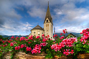 Red Geraniums Photo Prints - Austrian Church Print by Debra and Dave Vanderlaan