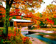 Vermont Autumn Originals - Authentic Covered Bridge VT by Nadine and Bob Johnston