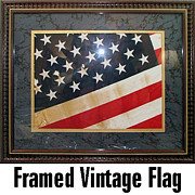 Universities Tapestries - Textiles Originals - Authentic framed vintage United States US flag by Laurie Trowell