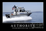 Police Patrol Law Enforcement Prints - Authority Inspirational Quote Print by Stocktrek Images