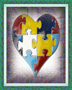 Awareness Posters - Autism--The Puzzle of our Autistic Heart Poster by Don Melton
