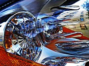 Glass Reflections Framed Prints - Auto Headlight 127 Framed Print by Sarah Loft