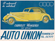 Nineteen Thirties Drawings Posters - Auto Union Audi 1930s Usa Cc Cars Poster by The Advertising Archives